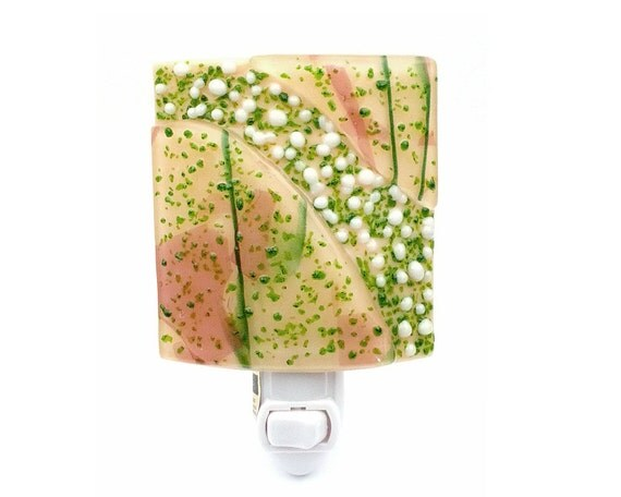 Night Light - Abstract Pink & Green Stained Glass Modern Home Accent