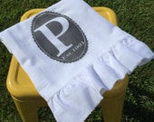 Monogram, Shabby Chic, Cottage, Farmhouse, Flour Sack, Tea Towel (Ruffled Initial Towel)
