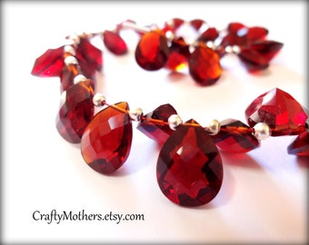 27% SALE! (Code: 27OFF20) MOZAMBIQUE Red Hydro Quartz Faceted Pear Cut Stone Briolettes, (1) Matched Pair, 9mm x 12mm, merlot