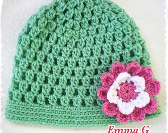 Crochet flower hat by Emma G./ Free Shipping