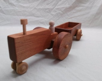 Walnut and Cherry Tractor and 2-wheeled wagon