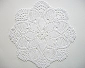 Large Doily Crochet White Cotton Lace Table Topper with Star Center Pineapple Motif and Large Fans Heirloom Quality