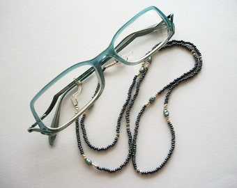 Blue Eyeglass Necklace Hematite Blue Beaded Lanyard with Vintage Blue Fresh Water Pearls