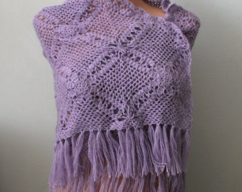 Lilac Crochet Triangle Shawl.