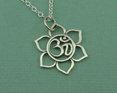 Small Lotus Flower Ohm Necklace - sterling silver necklace - ohm jewelry - yoga necklace - om necklace