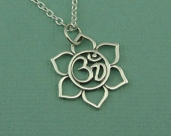 Om Necklace - Sterling Silver, Om Jewelry, Ohm Necklace, Yoga Necklace,  Lotus Flower, Buddhist Jewelry, Yoga Gifts