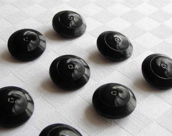 12  marvellous large black glass buttons with fine made surfaces - (22.5 - 7/8 in.)