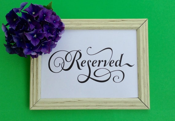 Reserved, Wedding Sign, Printable