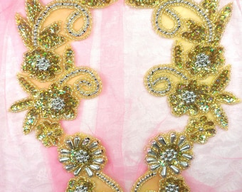 """0183 Appliques Mirror Pair Holographic Sequin Beaded Gold Silver 10"""" (0183X-hglsl)"""