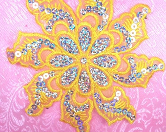 """GB119 Yellow Embroidered Flower Silver AB Sequin Applique 5.25"""" (GB119-yl)"""