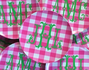 Gingham melamine dinner plates