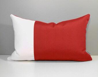 Red & White Color Block Pillow Cover, Decorative OUTDOOR Decor, Modern Throw Pillow Case, Crimson Colorblock Cushion Cover, Jockey Sunbrella