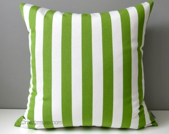 SALE, Lime Green & White Striped Pillow Cover, Modern Outdoor Pillow Case, Decorative Stripes, Sunbrella Cushion Cover, Greenery