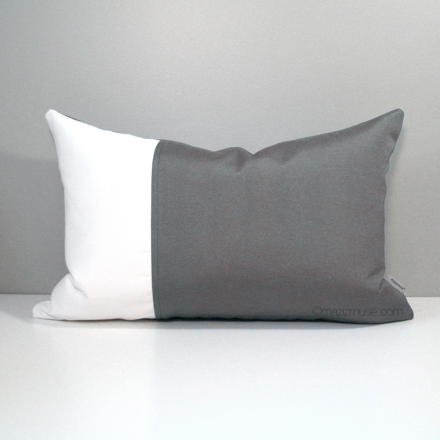 Decorative Grey Outdoor Pillow Cover Modern White by Mazizmuse