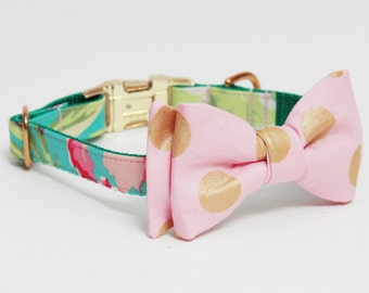 Adjustable Floral Dog Collar with Bow- Polka Dot Bow- Teal, Peach, and Pink Dog Collar with Gold Tone Hardware