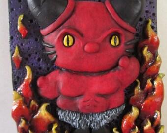 Hello Kitty The Darkness Legend mash up relief sculpture