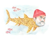 Bill Murray as a Jaguar Shark Print