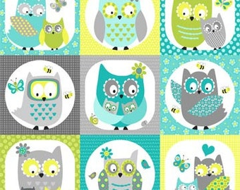 Whooo Loves You Northcott Owls Owl Fabric Patchwork Squares Aqua Blue Green