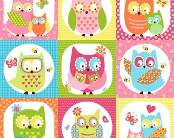 Whooo Loves You Northcott Owls Owl Fabric Patchwork Squares Bright Hot Pink