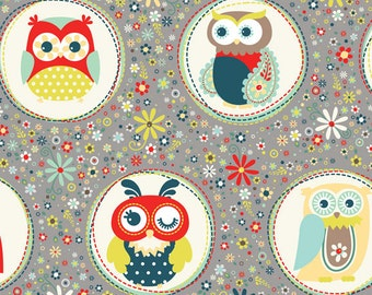 Nested Owls Aqua Mint Adorn It Fabric Collection Huge Winking Owl in Polka Dot