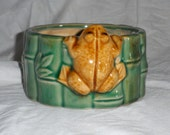 Vintage Planter with Figural Frog on the Side Makes a Great Trinket Tray or Sponge Dish