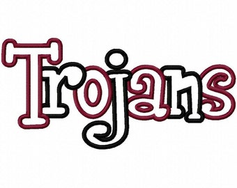 Trojans 2 Color Embroidery Machine Applique Design 4376
