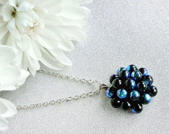 BlackBerry Cluster Pendant Necklace, Statement necklace, Black Pendant Necklace, Bubbly Black Glass Berry Necklace, Black Cluster Necklace