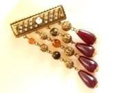 Dangling  pendant  degradè bar Brooch - Gorgeous brooch, vintage 1970s - Art Nouveau and bright-art.214-