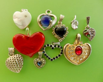 Heart's Collection- Italian vintage1950/1960/1970 high-quality sterling silver and crystal - Lovely Mix  of 10 small Hearts  -- Art.445 --