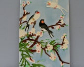 Vintage Large Bird Tile . Beautiful Asian Design . Trees and Birds . Unique Tile