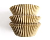 Matte Gold Cupcake Liners, Wedding Cupcake Liners, Gold Paper Cupcake Liners (50)