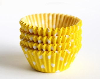 MINI Cupcake Liners - Yellow Polka Dot (60)