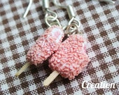 Popsicle Collection - Strawberry Ice Cream Sundae Crunch Bar (Sterling Silver French Hook Earrings)