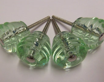 Set of 4 Glass Knobs Green Glass Drawer Pulls Manhattan Barrel Chrome or Brass Centers Also Available
