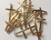 12PCS Antique Gold Curved Cross Connector, 52x22mm