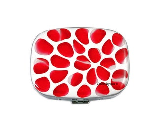 Oval Metal Pill Box with Mirror Hand Pained Enamel Red and White Blossom Inspired Custom Colors and Personalized Options