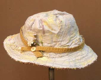 Summer Hat Light Colored Handmade Hat Vintage Lace & Embroidery, Canvas