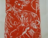 SALE - Red Musician playing Jazz - Bourg-en-Bresse - Lino cut limited edition, signed by Artist Rosemary Derwent