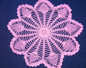 Pineapple Design Hand Crocheted Deep Pink Cotton Doily, Parlor Table Doily, Centerpiece Doily, Large 22 inches, Hot Pink Doily, Needle Art