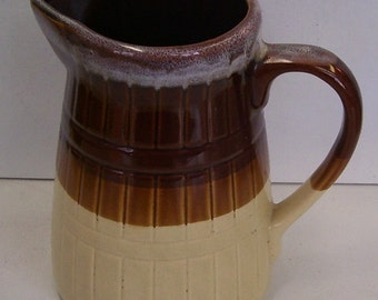 Vintage Brown Pottery Milk Jug,5 Cup Milk Pitcher, Drip Brown Two Tone Pitcher, Farm House Pitcher, Ribbed Sides Serving Pi