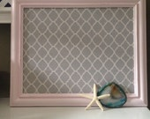 Fabric Memoboard Vintage Framed light Pink Valentines Day Gift Magnetboard Corkboard Quatrefoil