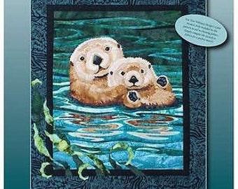 Sea Otters Toni Whitney Fusible Applique Sea Life Quilt Pattern + Fabric Kit