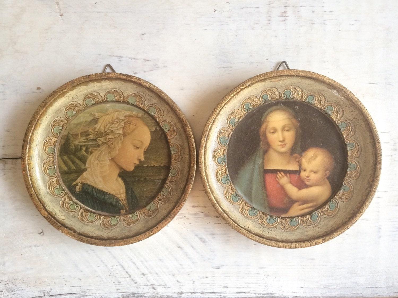 Pair Of Vintage Italian Florentine Framed Wall Hangings