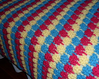 Crocheted Queen Afghan - Blanket - Throw - Coverlet - Bedspread - Gift ''TIER DROP'' in Fuchsia and Butter and Turquoise