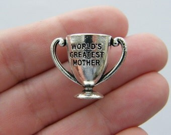 2 Trophy World's best mother charms antique silver tone M165