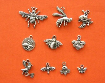 The Bee Charm Collection - 10 different antique silver tone charms