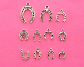 The Horseshoe Collection - 11 different antique silver tone charms
