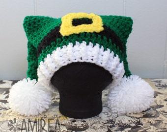 Elf or Leprechaun Holiday Beanie All Sizes Adult to Newborn, Crochet Hat