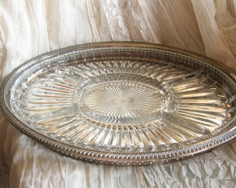 Vintage Glass and Silver Serving Tray