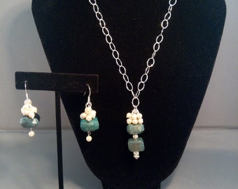 Blue opal necklace and earrings.